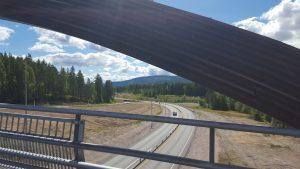 Utsikt over nye Riksvei 3, retning sør.