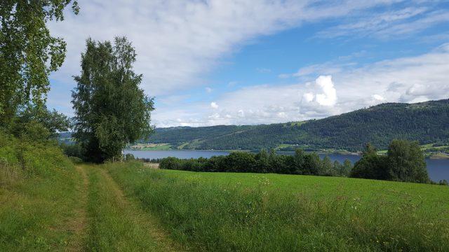 Fra teltplassen vår hadde vi utsikt til andre siden av Mjøsa, og kunne blant annet se Kløvstadhøgda.